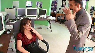 Lickerish busty nerdy secretary gives such a sensual solid blowjob