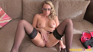 MILF loves posing her estimable assets before taking control of this dick