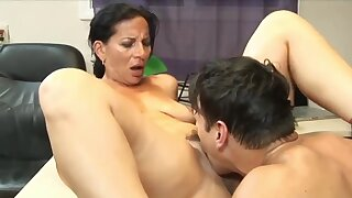 Awesome 63yo Mature Mom with Hot Body having Orgasm with her 22yo Boss