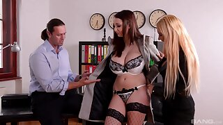 Full orgasms for these classy office MILFs during a dissolute trio