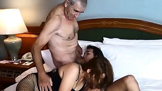 Cuckold by Asian ladyboy for Thai MILF fit together and their way husband