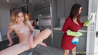 All In A Day's Squirt - busty mom Alexis Fawx rides perky tits light-complexioned Mackenzie Rightness in lesbian action with strapon