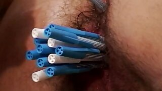 Skinny redhead milfs hairy shrub miserly asshole gets deep toyed with pens and rough anal fucked