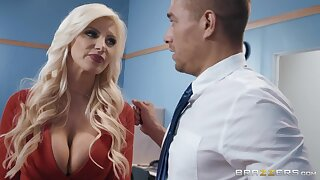 Buxom cougar in red shoes Brittany Andrews is fucked in chum around with annoy office