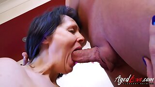 Aged mature lady enjoying blowjob and hardcore sex with handy man Find this video on our network Oldnanny.com
