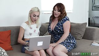 BBW stepmom Maggie Green teaches stepdaughter how up drag inflate a dick