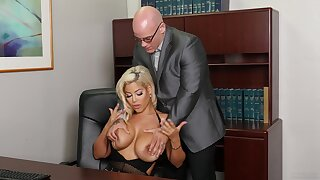 Buxom Bridgette B. does not keep personal property platonic in the workplace