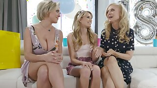 Two lesbian cougars have a passion barely legal teen Scarlett Sage