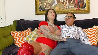 Inked BBW Tallulah DPs herself on every side toys during hot sex stint