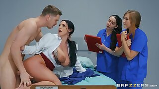 Naked MILF shows younger nurses how to deal with a smashing dick